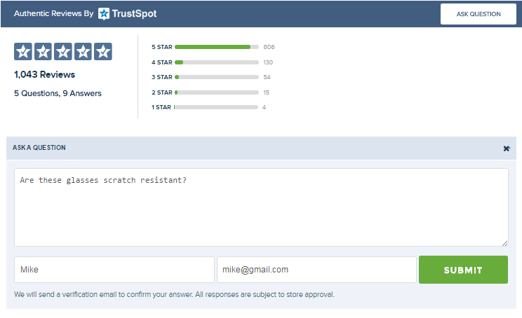 TrustSpot Widget Ask Question